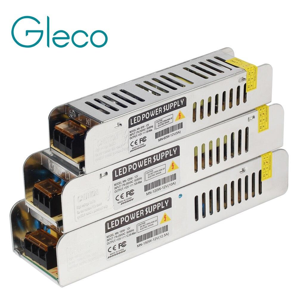 12 V transformador de 5A-30A de energía de conmutación 60 W 120 W 150 W 200 W 250 W 360 W LED controlador de adaptador para tira de luz LED