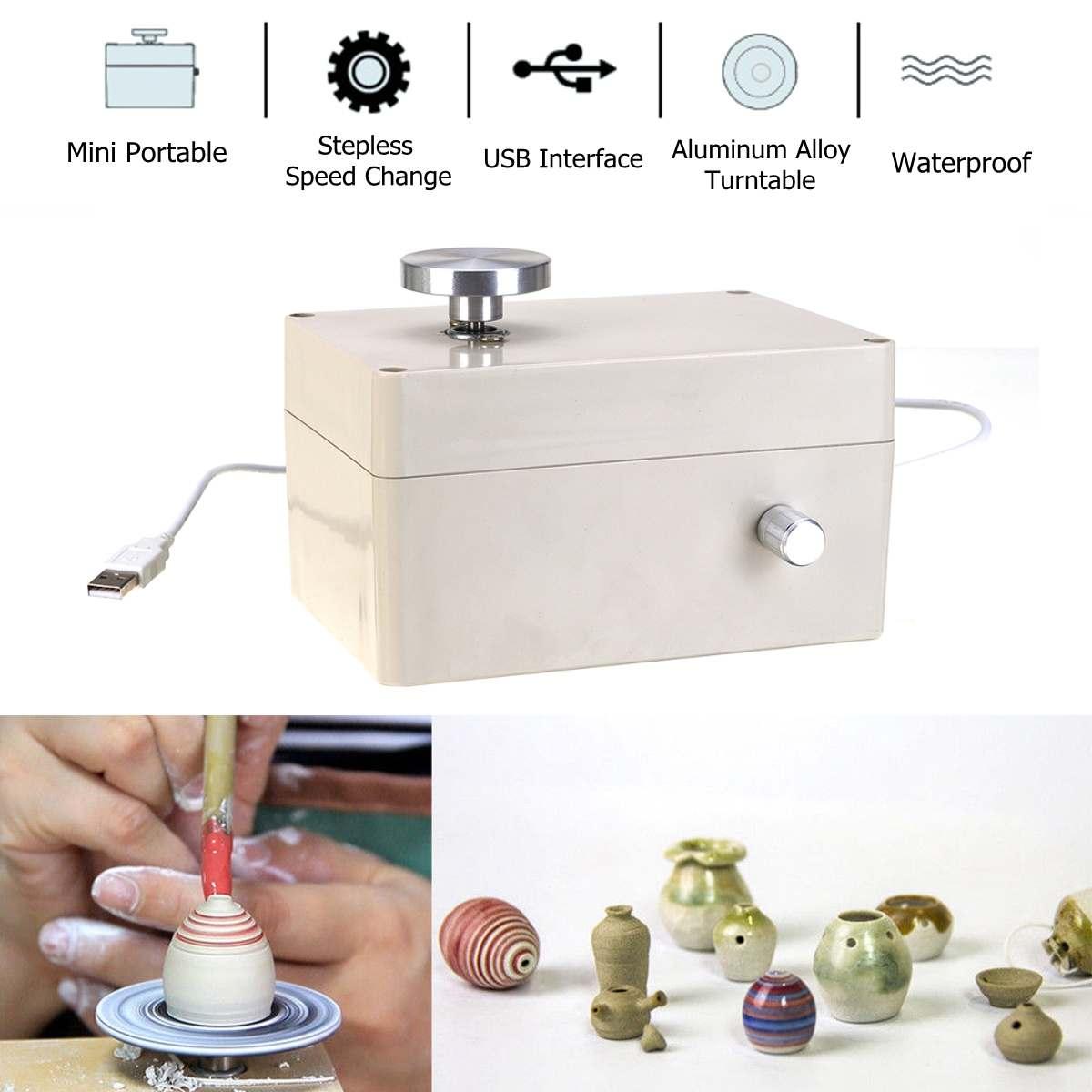 5V USB Aluminum alloy Fingertip Mini Pottery Wheel 4.5cm Turntable Knob Stepless Speed Change