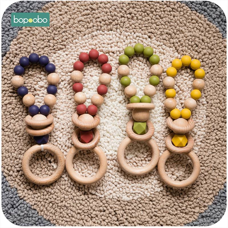 Bopoobo 1pc  BPA Free Silicone Teethers Tooth Beads Baby Rings Natural Wooden Teeth Rubber Houten Ringen Wood Rattles Child Gift