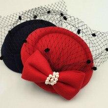 Зимняя вышитая Фата, хлопковые фетровые шляпы для официальных коктейлей, вечерние шляпы для женщин, Свадебные шляпы