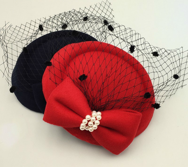 Winter Embroidered Veil Cotton Felt Pillbox Hats For Formal Cocktail Party Fascinator Hats For Women Wedding Hats Dress Fedoras