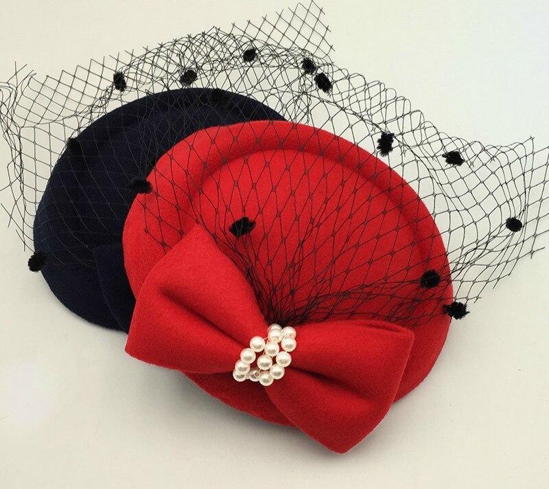 Women/'s Midnight Blue Asymmetrical Pillbox Dress Hat With Veil