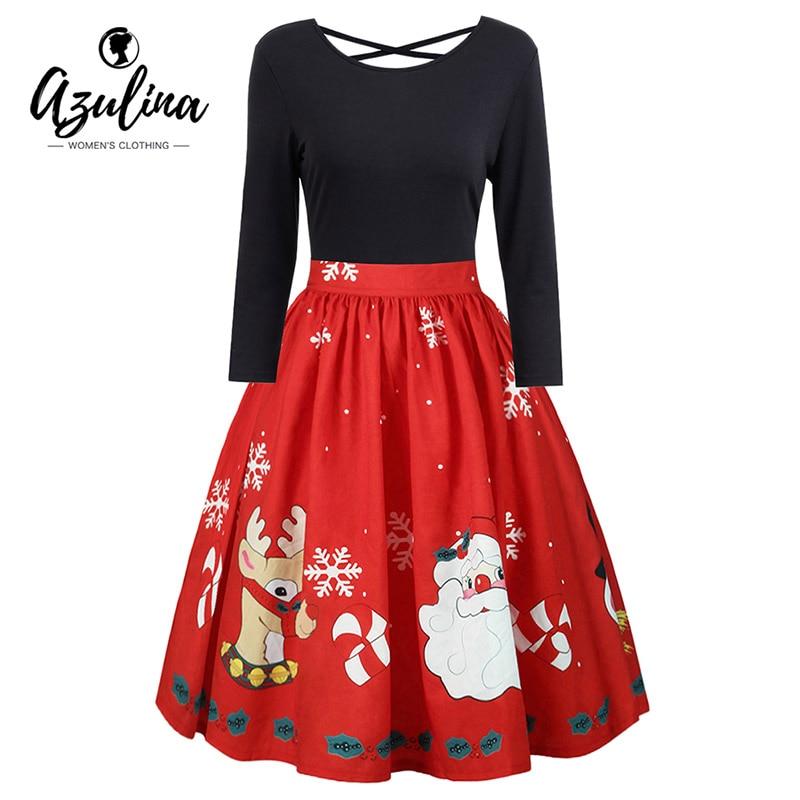AZULINA Plus Größe Weihnachts Drucken Criss Cross Kleid Herbst Frauen Audrey Hepbum Retro Rockabilly Party Kleid Vestidos De Fiesta