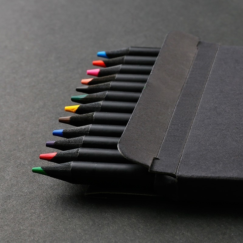 NOVERTY High Quality 12 Colors Black Wood Pencil Set Drawing Painting Stationery Art Color Pencil School Supplies 05406