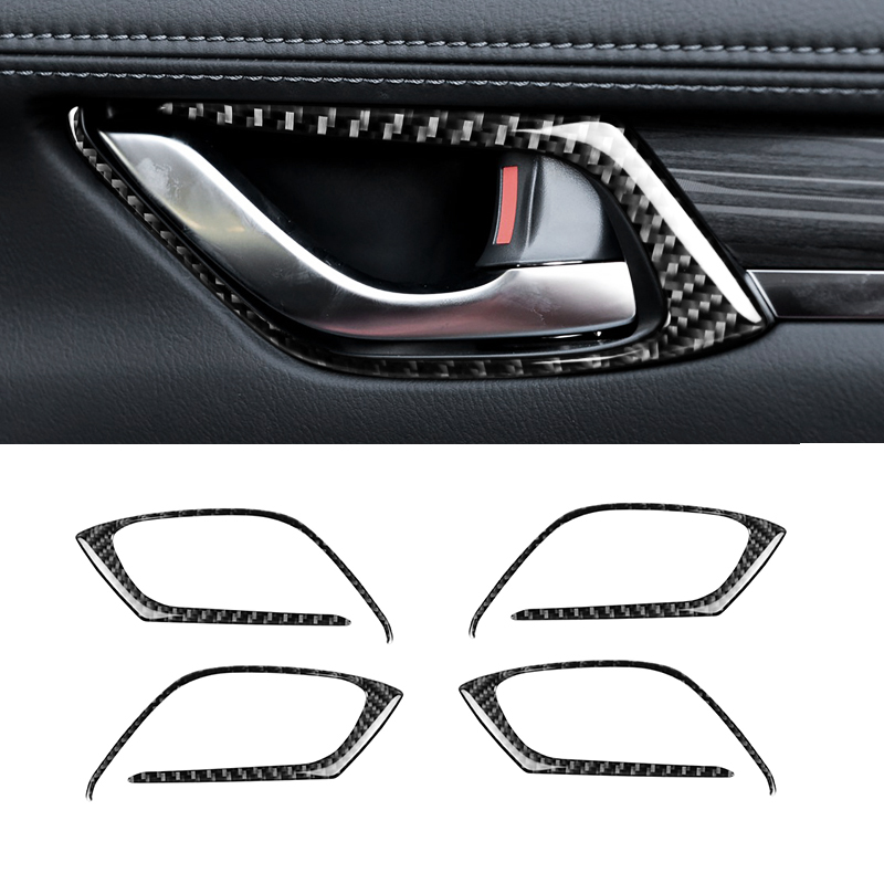 Image 3 - For Mazda CX 5 CX 5 2017 2018 4pcs/set Carbon Fiber Car Interior Door Pull Handle Frame Cover-in Interior Mouldings from Automobiles & Motorcycles