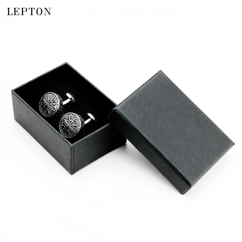 Hot Round Vintage Cufflinks For Mens with Gift Box Lepton Baroque Whale Back Closure Cuff links for Wedding Business Drop Ship