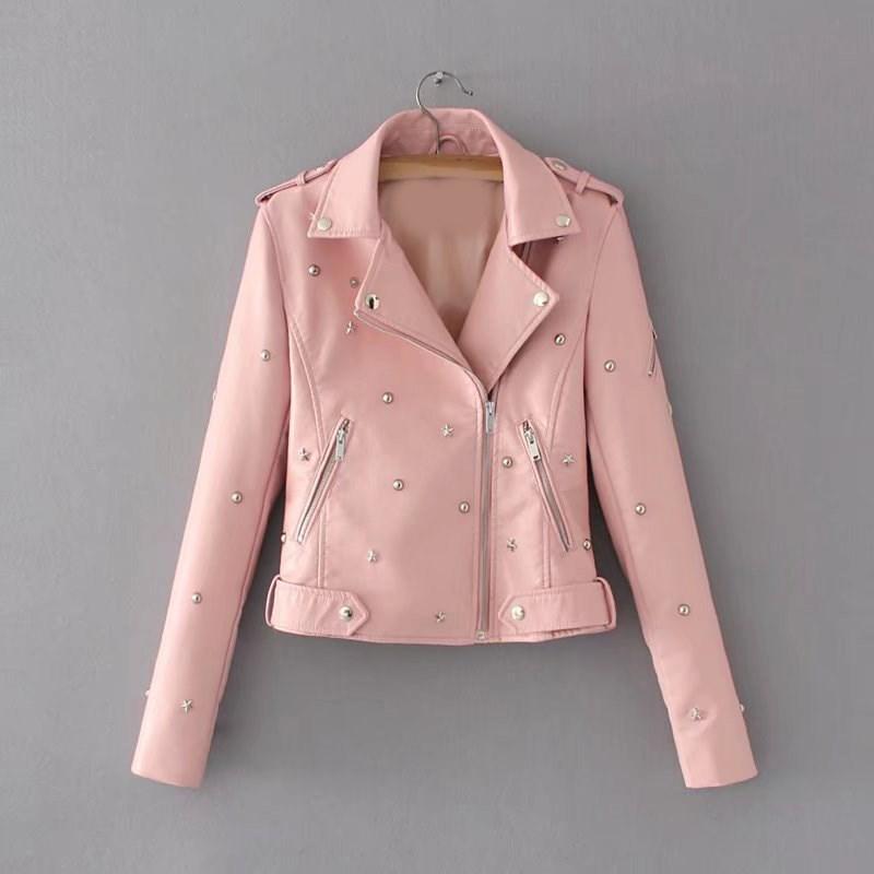 Autumn Women Faux   Leather   Jacket Turn-Down Collar 2018 New Fashion Winter Pu Coat Black Rivet Motorcycle Biker Coat Outwear