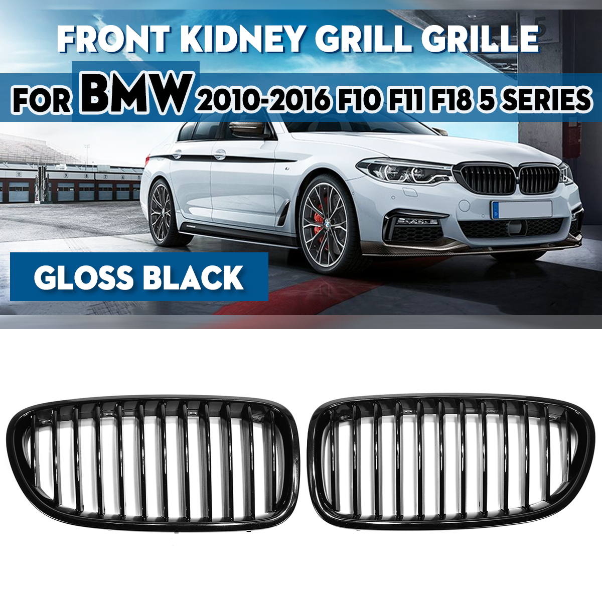 1 Pair Gloss Black Carbon Fiber M Color 1 Line Slat Front Bumper Kidney Grill For BMW F18 F10 F11 5 Series 2010 - 2016 image