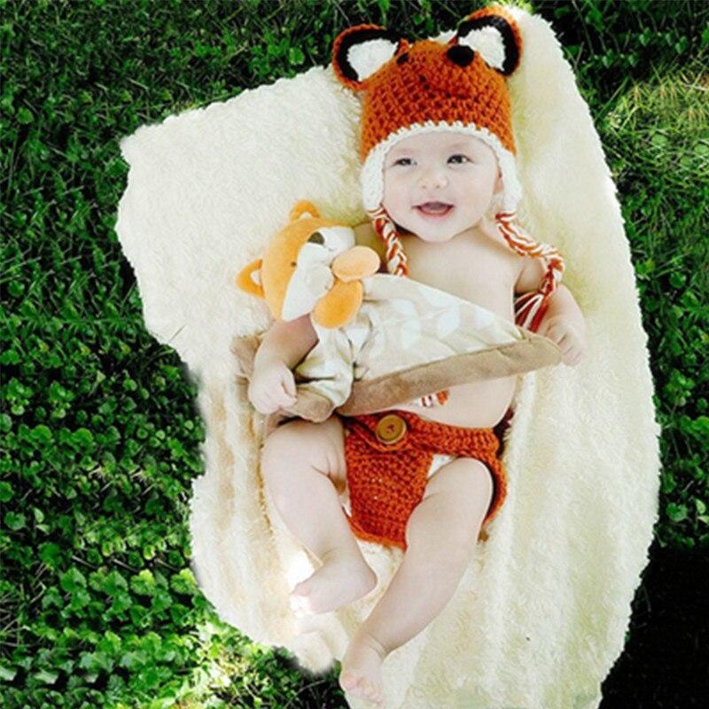 Newborn Photography Props Accessories Hand Knitting Cute Fox Costume Baby Hat+pants Set Baby Photo Props Newborn Fotografia Cap