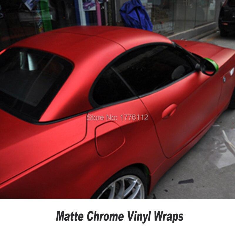 Film de protection pour voiture en vinyle chromé mat rouge pour voiture - 2