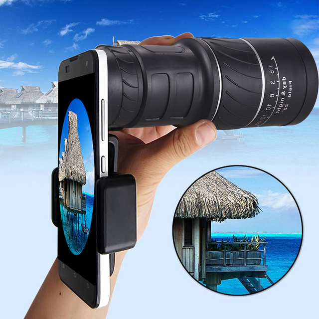 16x52 טלסקופ עדשת מצלמה עבור iPhone טלפון עם אוניברסלי קליפ משקפת HD היקף טיולים ציד טלפון טלסקופ