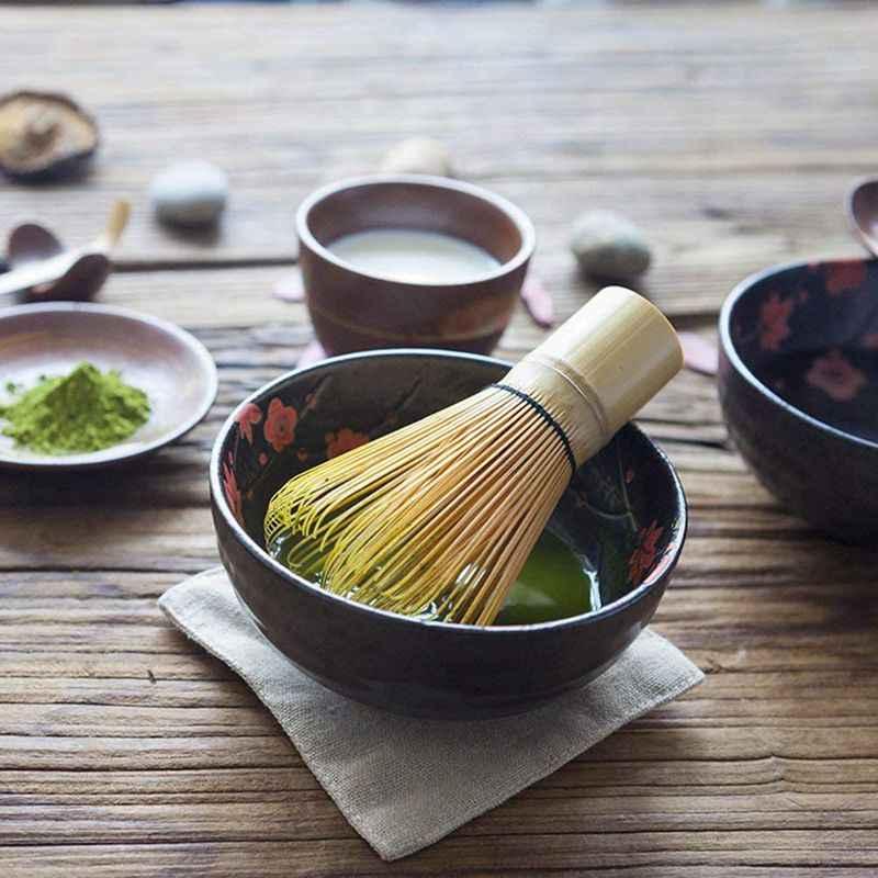 ชุดชาญี่ปุ่น Matcha (3 Pcs)-ไม้ไผ่ Matcha Whisk ช้อนชา,ชาพิธีชุด