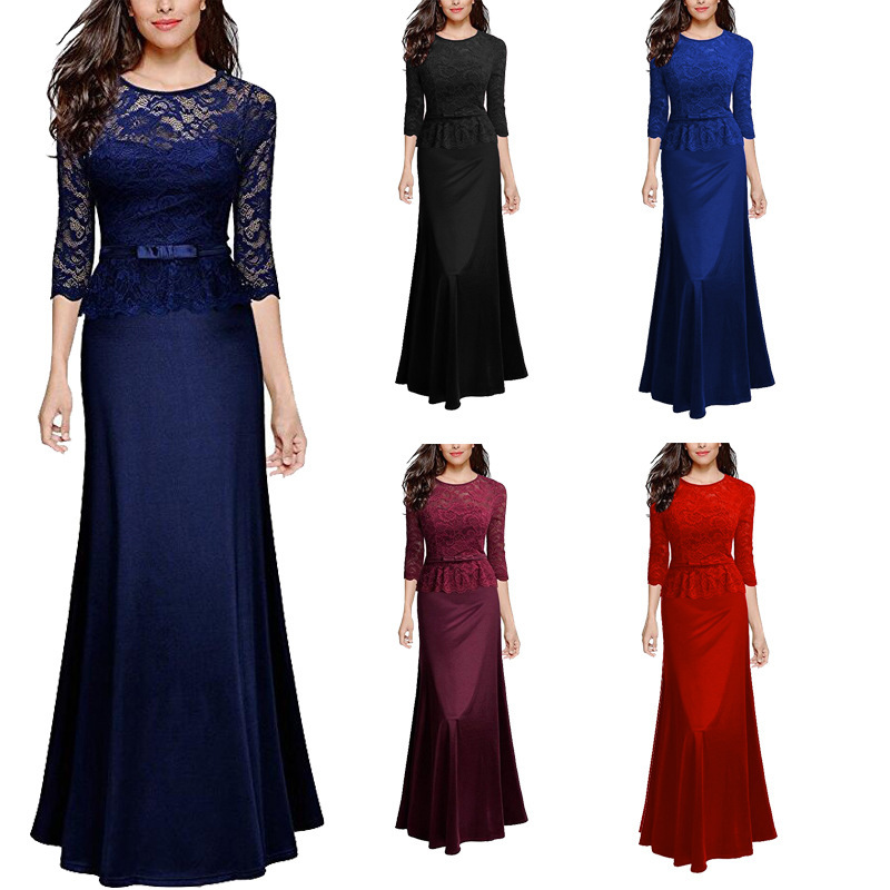 Evening     Dresses   Long Elegant Navy Blue Long Sleeve Little Mermaid Lace Winter Formal   Evening   Gowns Burgundy Abendkleider 2018