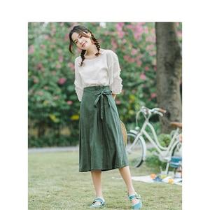 Image 3 - INMAN verano cintura alta literaria Retro definido cintura cordones Slim Casual todo combinado A line falda de las mujeres