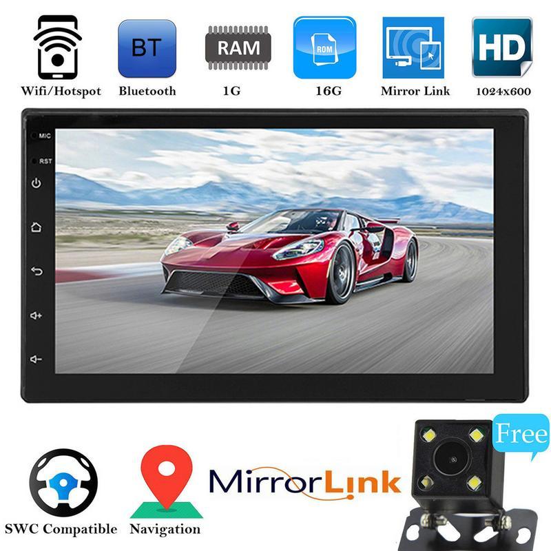 Universa ultra-mince 7 pouces 2 DIN Bluetooth WIFI navigateur Radio MP5 lecteur Audio GPS caméra de recul 4 cœurs Android 8.1