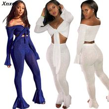 Xnxee Shining Silver Wire Two Piece Set Tie Bow Off Shoulder Long Bell Sleeve Crop Top Skinny Flare Pants High Stretchy Outfit off the shoulder bell sleeve top