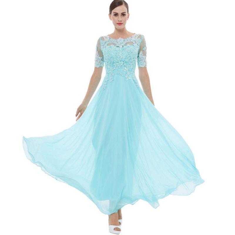Dressv Elegant Sky Blue A-line Long Evening Dress Scoop Neck Beading Short Sleeves Lace Formal Party Prom Dress Evening Dress