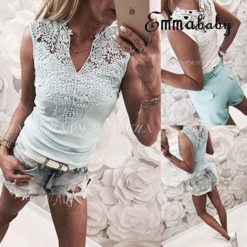 Sommer Frauen Ladies Sommer T shirt Causul Ärmel Aushöhlen V-ausschnitt Spitze Tank T-shirt Tops