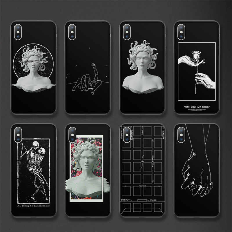 Uslion Patung untuk iPhone 11 Pro Max 6 6 S 7 7 Plus Abstrak Garis Lembut TPU Cover untuk iPhone X XS XR X Max 5 5 S SE