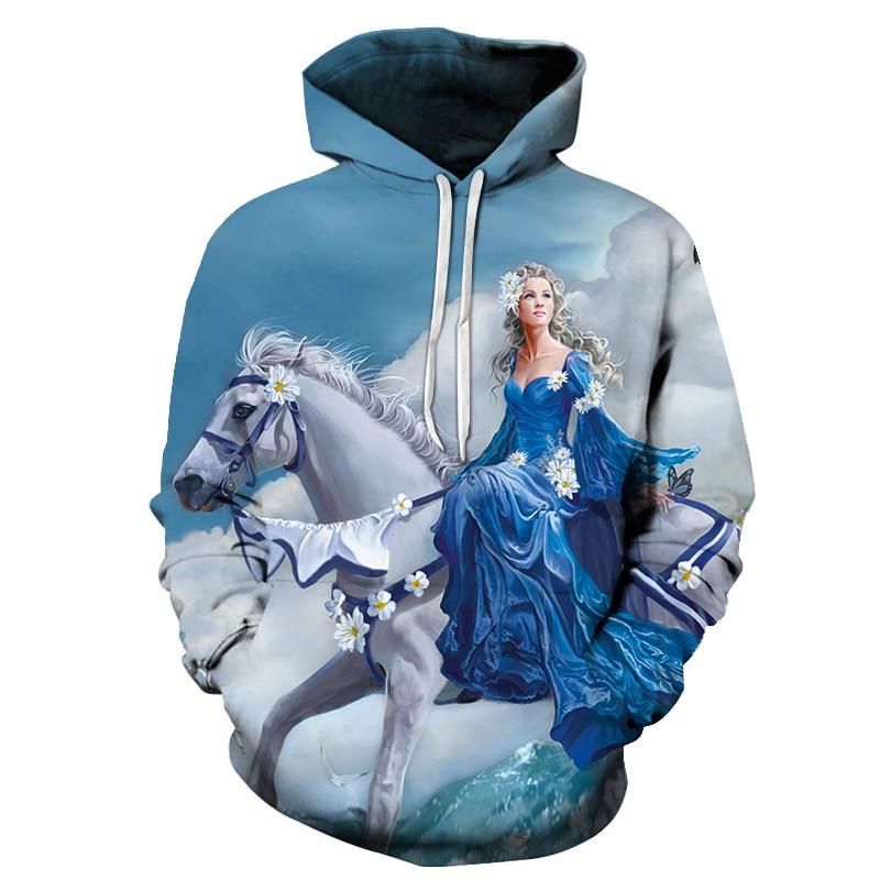 Horse&Princess 3D Print Sweatshirts Men Hoodies Tracksuit  Pullover Autumn Winter Hoody Hooded Coat Brand Drop Ship ZOOTOP BEAR