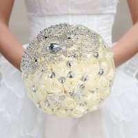 18cm Handmade Wedding Bouquet with Artificial Rhinestone Bridal Wedding Bouquet Satin Rose Flower for Bride Wedding Supplies