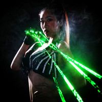QIYING green Laser Gloves With 4pcs 532nm Laser,Disco LED laser Gloves,For DJ Club Party Show LASER POINTER green gloves