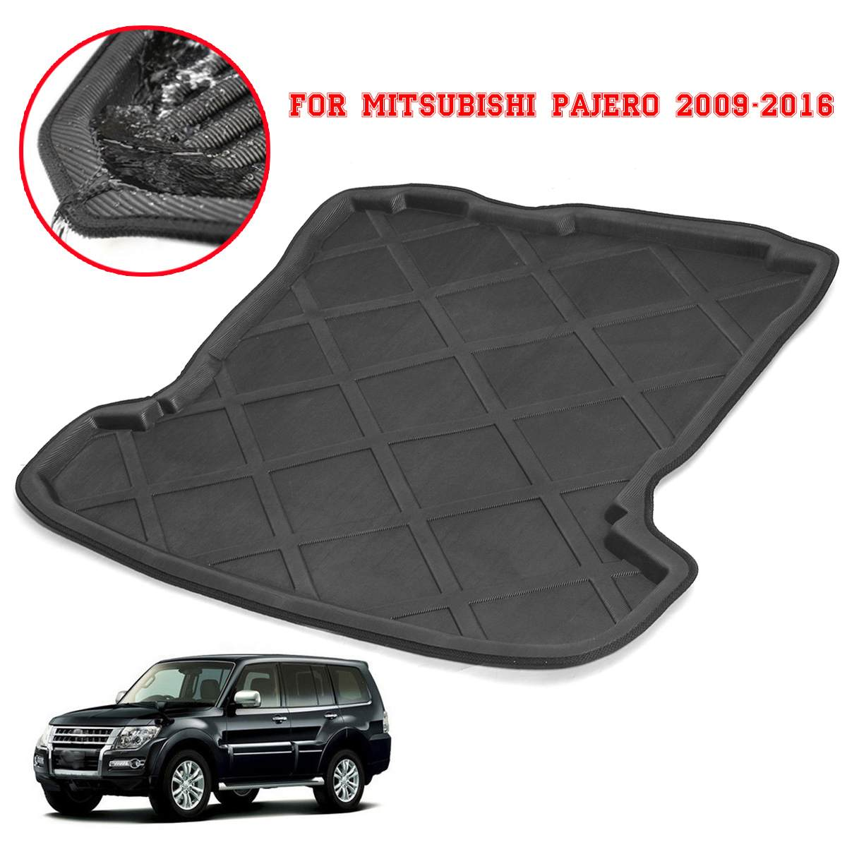 For Mitsubishi Pajero 2009-2016 Car Rear Boot Liner Trunk Cargo Mat Tray Floor Carpet Mud Pad Protector Interior Accessories