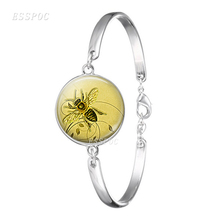 Retro Honeybee Beekeeper Apiarist Honey Bee Glass Cabochon Dome Jewelry Metal Silver Bracelet Gift