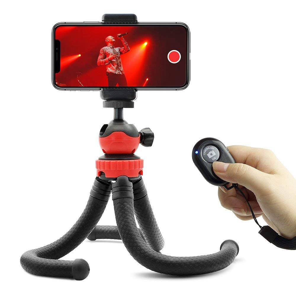 Flexible <font><b>Tripod</b></font> <font><b>for</b></font> Cameras and Cell <font><b>Phones</b></font>, with Smartphone <font><b>Remote</b></font> Shutter, Compatible with iPhone, Android <font><b>Phones</b></font>, DSLR image