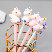 12pcs/lot Creative little fresh water pen girl heart pink unicorn glue gel office signature 0.5mm
