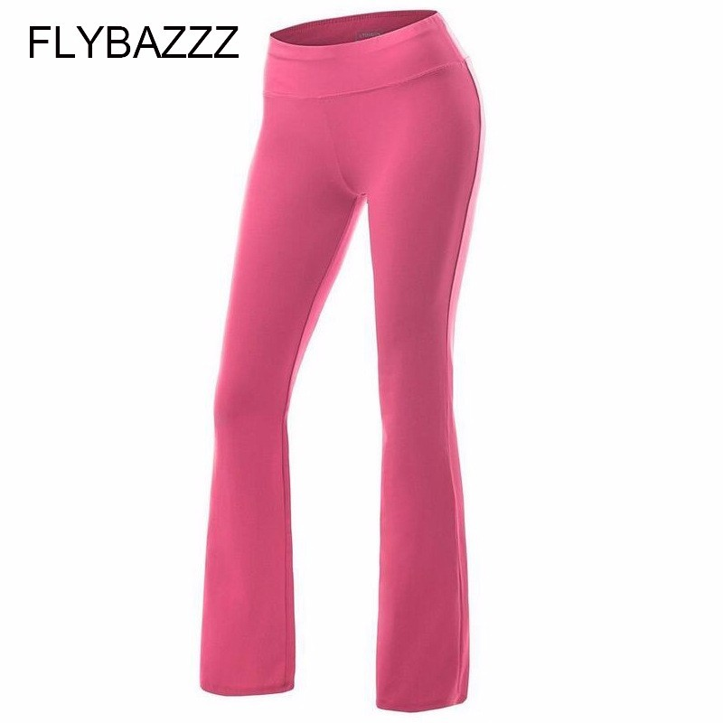 Women Solid Yoga Pants High Waist Stretch Fitness Trousers Slim Running Sports Pants Ladies Cotton Dance Training Boot Cut Pants