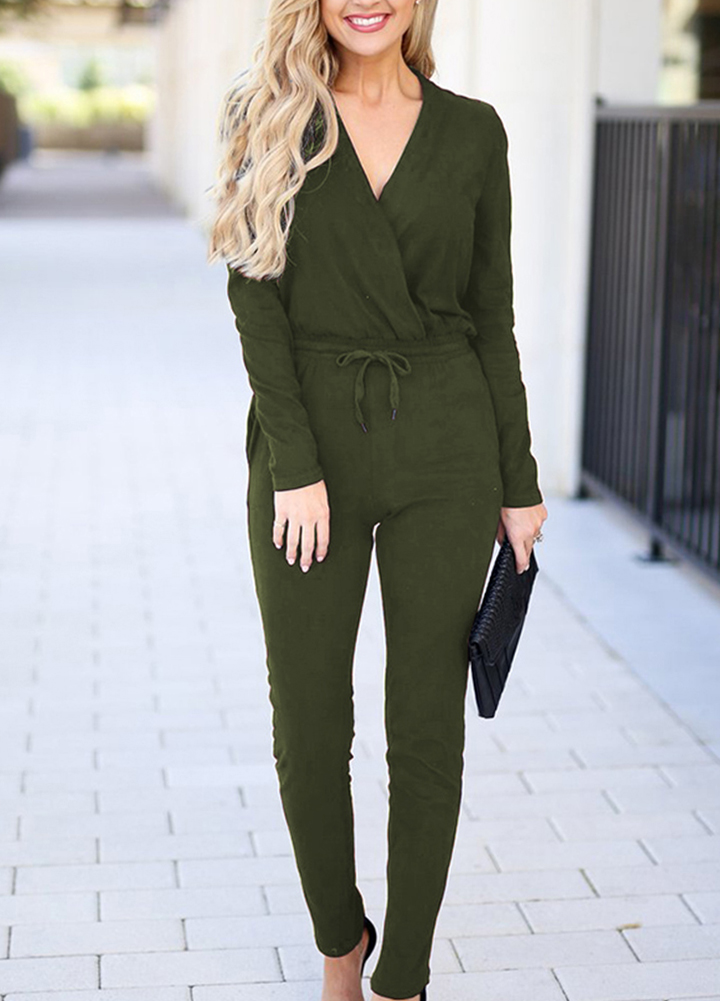 Fashion Spring Autumn   Jumpsuit   Long Sleeve Deep V Neck Rompers Solid Casual Female Long Playsuit Waist Drawstring Slim Overalls