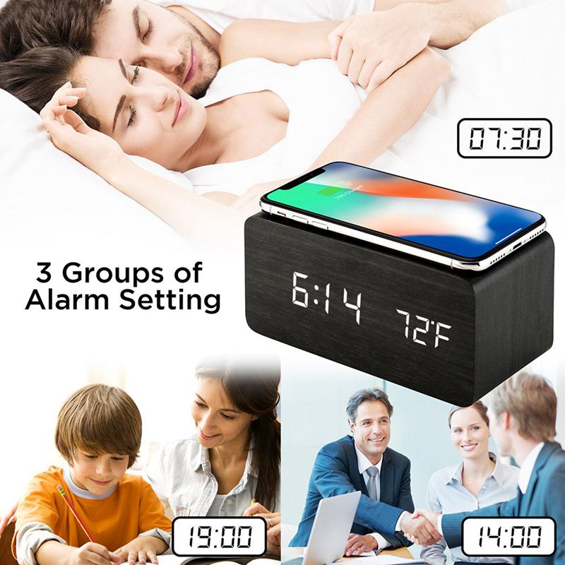 Image 5 - Wooden Alarm Clock With Qi Wireless Charging Pad Compatible With For Iphone Samsung Wood Led Digital Clock Sound Control Funct-in Alarm Clocks from Home & Garden