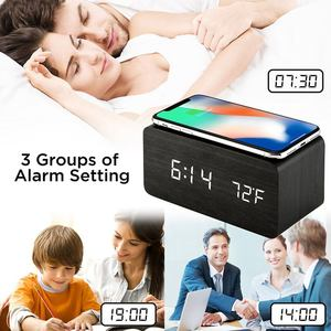 Image 4 - Wooden Alarm Clock With Qi Wireless Charging Pad Compatible With For Iphone Samsung Wood Led Digital Clock Sound Control Funct