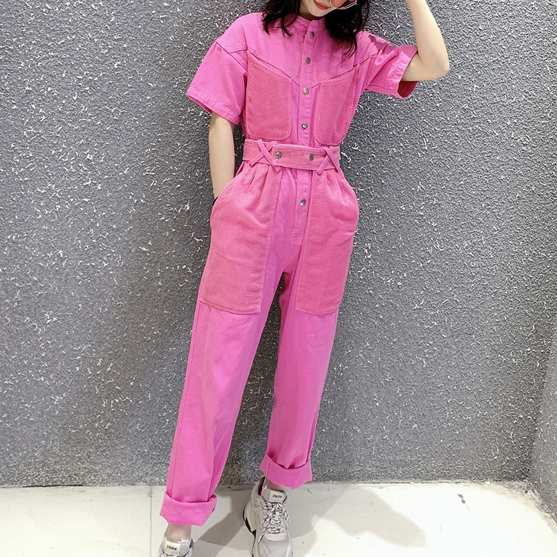 Work Office Women Jumpsuit 2019 Spring Summer Fashion Sexy Overall Loose Solid Long Playsuit Lace Up Sashes Jumpsuit Rompers New