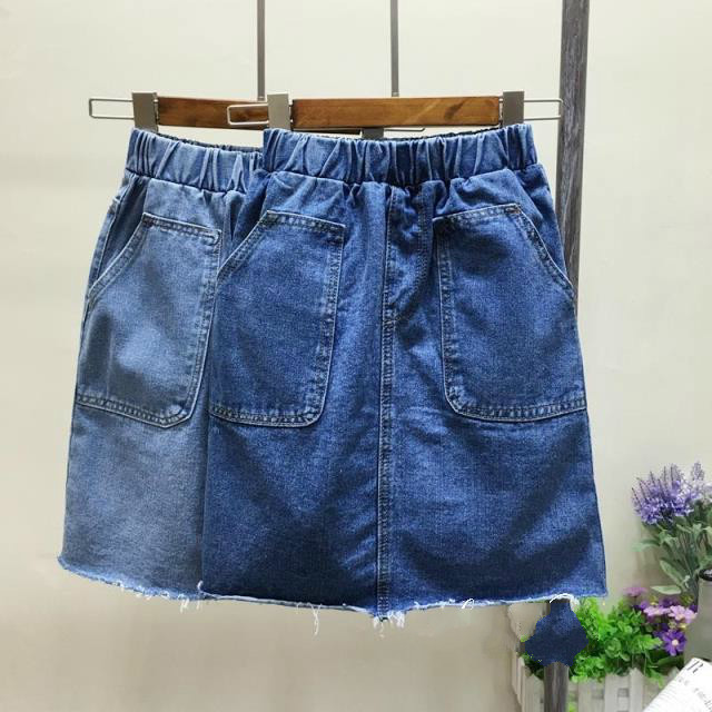 2019 Summer Jeans White Skirt Women Elastic Waist Denim Skirts Female Mini Saia Washed Casual A line Skirt Plus Size 3XL