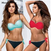 Minimalism Le Sexy Bikini Set Women Push Up Swimsuit Patchwork Bikinis Solid Swimwear Bandage Bathing Suit Female Beach Wear
