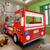 vidaXL Lovely Fire Truck Bed for Children Furniture Car Model Bed Frame Bedstead Wooden Slats Children Beds for Home Furniture