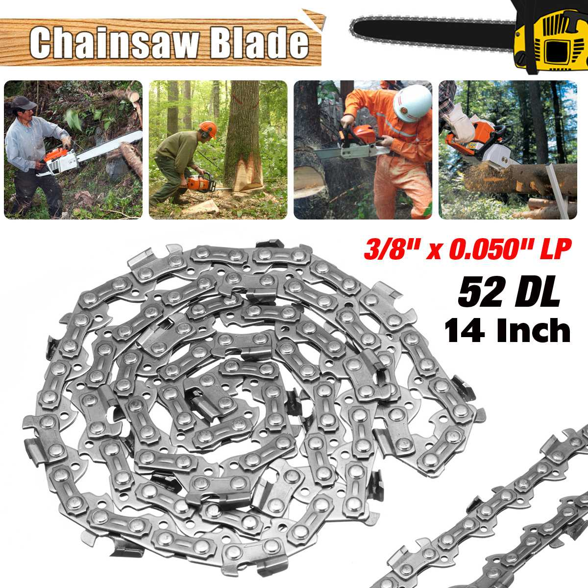 New 14 inch Garden Chain Saws Alloy Solid Carbide Chainsaw Chain 52 Link Bar 3/8 x 0.050 LP Power Tool parts 18 inch chainsaw chain 68 link bar 1 6mm x 0 325 lp garden chains saws alloy power tool parts