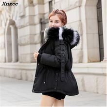 купить 2018 Winter Women Hooded Coat Fur Collar Thicken Warm Long Jacket Female Plus Size Outerwear Parka Ladies Chaqueta Feminino по цене 1933.09 рублей