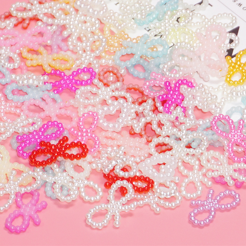 Punk DIY Craft Supplies Creative Mobile Phone Shell Slime Filler Cream Dropping Glue Shell Material Mixed Pearl Bowknot KS004