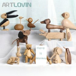 Nordic Style Danmark Wooden Animal Figurines Wood Bear/Dog/Bird/Monkey Figures Home Decor Ornaments Crafts Boy Toys & Hobbies