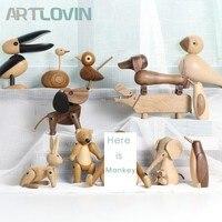 Nordic Style Danmark Wooden Animal Figurines Wood Bear/Dog/Bird/Monkey Figures Home Decor Ornaments Crafts Boy Toys & Hobbies