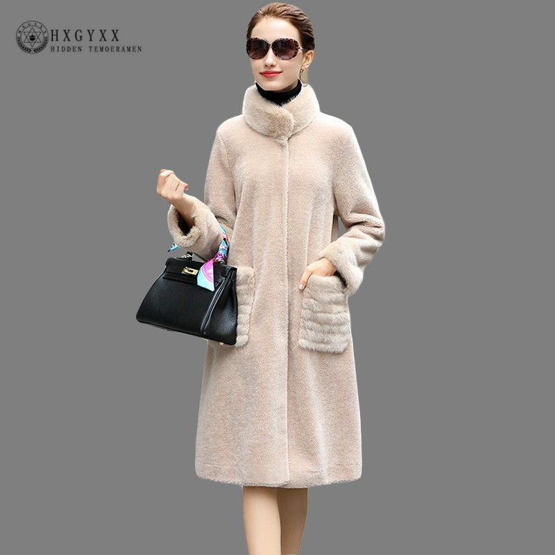 bc3815ca7d4 2019 Fashion Mink Stand Collar Natural Fur Coats Women Shearling Jacket  Long Plus Size Wool Sheepskin Coat Warm Overcoats Okd694-in Real Fur from  Women s ...