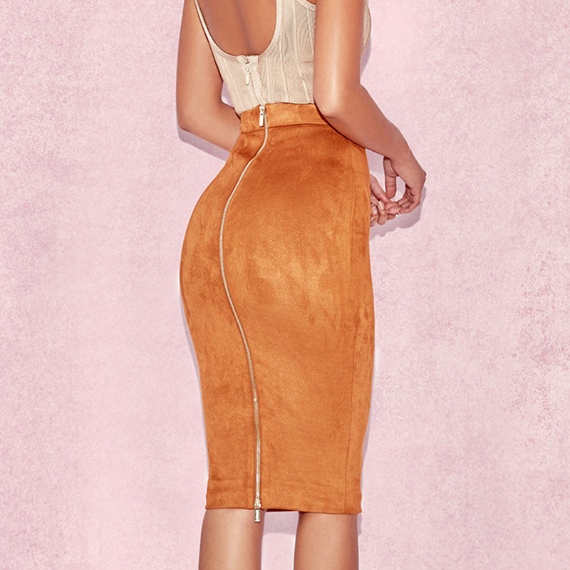 Hanyiren Winter Spring Women Suede Midi Pencil Skirt High Waist Sexy Ladies Office Work Sexy Bodycon Zipper Through Skirt