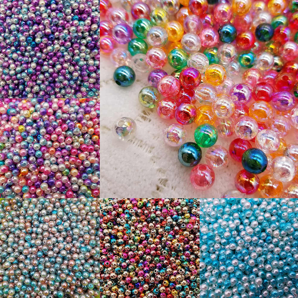 6/8mm 100/200pcs Mix Rainbow Color Round ABS Imitation Pearl Beads Handmade Kids Loose Beads NEW for Diy Jewelry Necklace Making