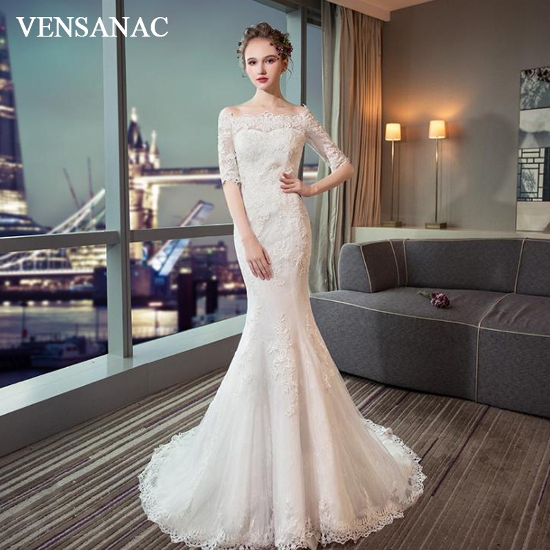 VENSANAC Illusion Boat Neck Lace Appliques Mermaid Wedding Dresses Elegant Half Sleeve Sweep Train Bridal Gowns