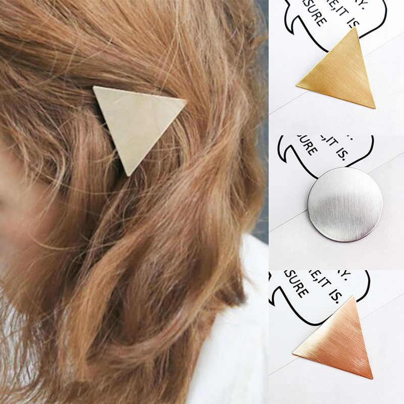 海辺ファッションヘアアクセサリーガール幾何学ラウンドヘアピン金属ヘアクリップバレッタローズゴールド現代飾りパーティーギフト
