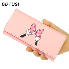 Купить с кэшбэком BOTUSI Mickey Bow Lady Purses Handbags Brand Design Women Wallets PU Leather Money Coin Purse Cards ID Holder Cartoon Printing