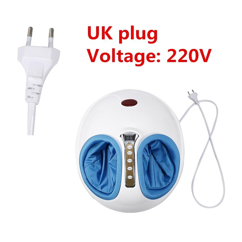 220V Electric Shiatsu Foot Massager Machine Heating Foot Leg Muscle Stimulator With Heat Vibration Knead Foot Care UK Plug HWC